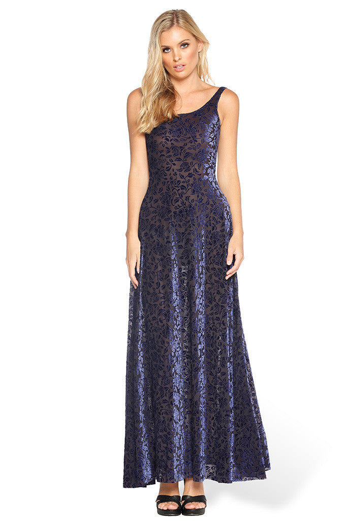 Burned Velvet Midnight Rose Maxi Dress
