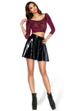 Burned Velvet Regal Red 3/4 Sleeve Crop