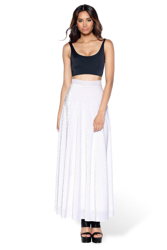 Burned Velvet White Maxi Skirt