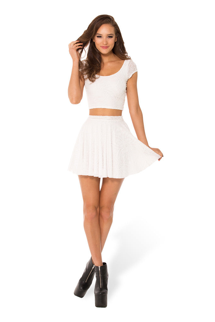 Burned Velvet White Cheerleader Skirt