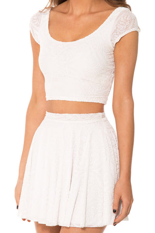 Burned Velvet White Cap Sleeve Crop