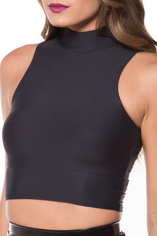 Matte High Neck Crop