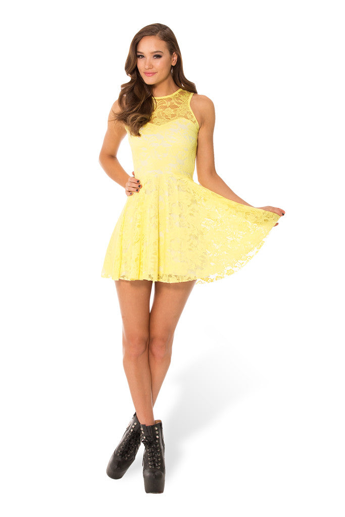 Lemon Lace Skater Dress