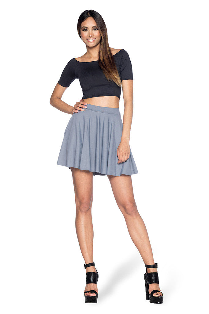 Matte Grey Pocket Skater Skirt