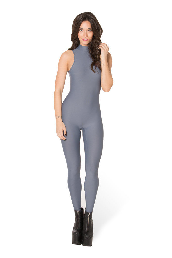 Matte Grey High Neck Catsuit