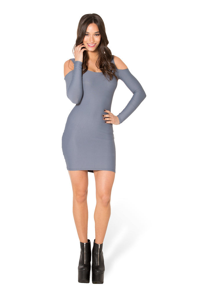 Matte Grey Cold Shoulder Dress