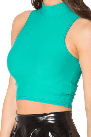 Matte Jade High Neck Crop