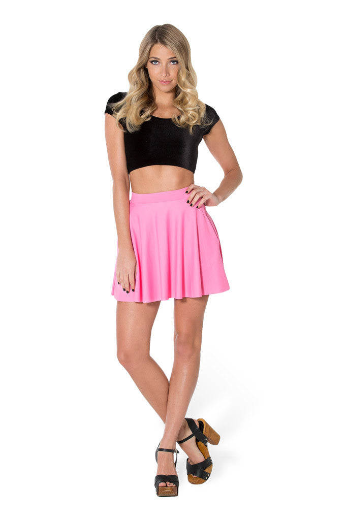 Matte Pink Pocket Skater Skirt