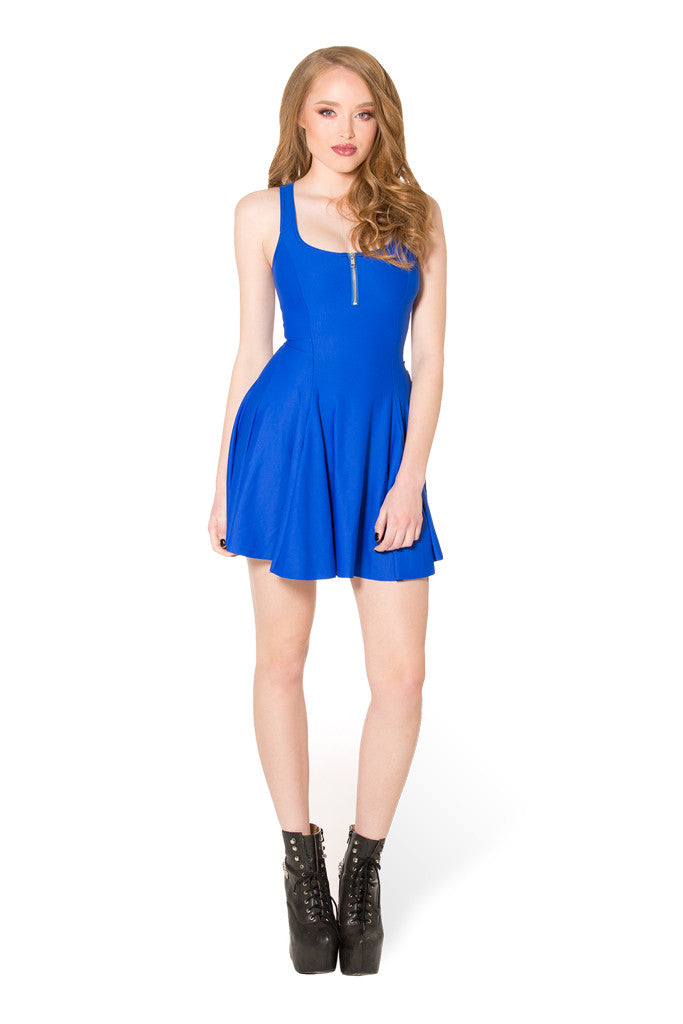 Matte Royal Blue Evil Zip Dress - LIMITED