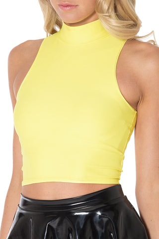 Matte Yellow High Neck Crop