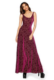Burned Velvet Regal Red Maxi Dress