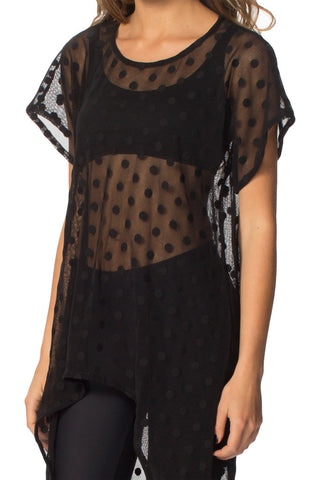 Sheer Spot Waterfall Top - LIMITED