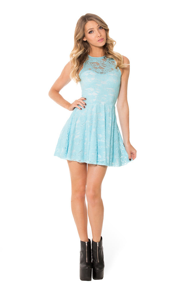 Sky Blue Lace Skater Dress