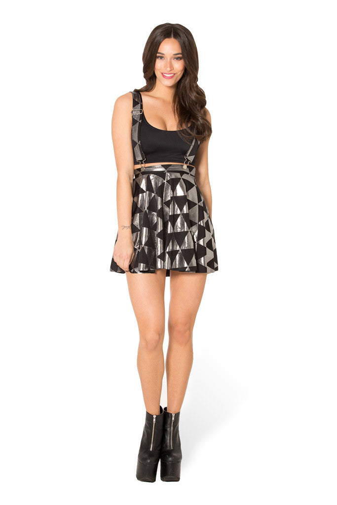 Triangle Silver Pinafore Skater Skirt