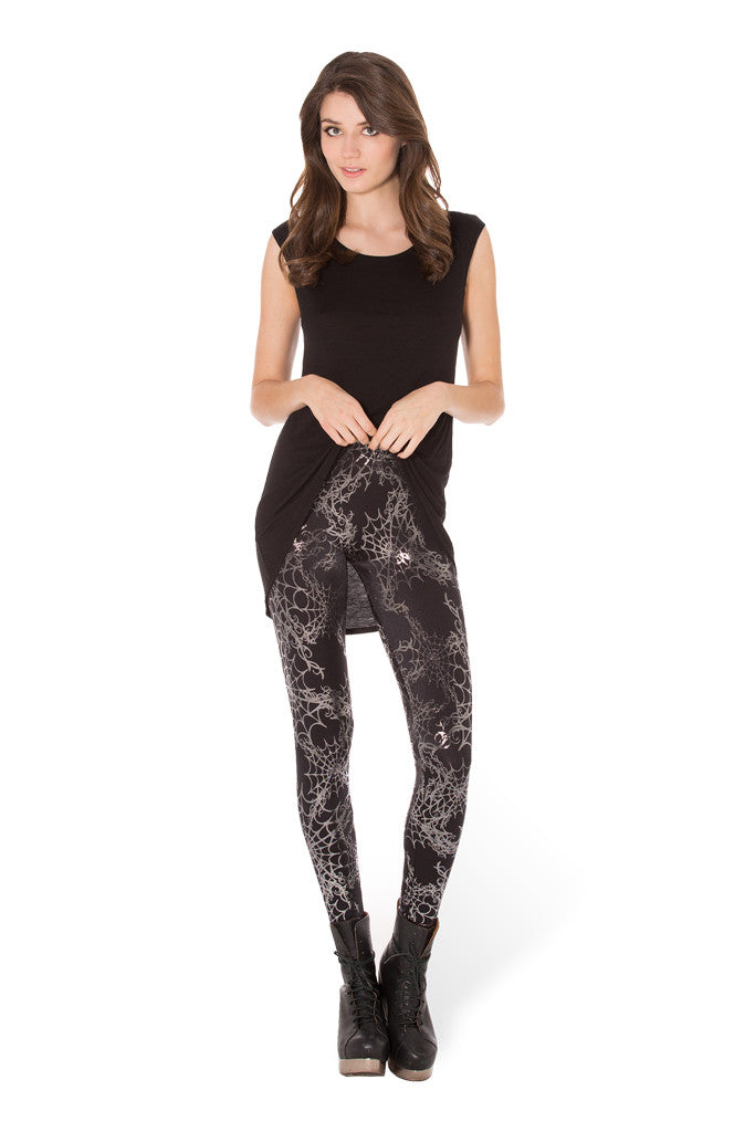 Wicked Web Silver Leggings