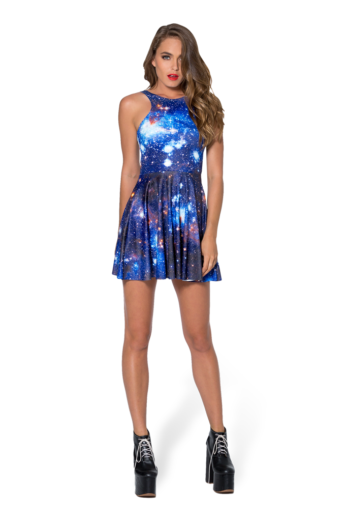 Galaxy Blue Reversible Skater Dress