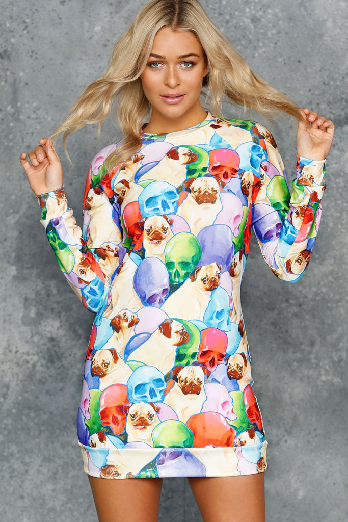 Pugs and Skulls Sweater Dress