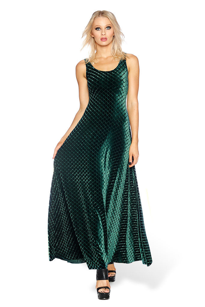 Embossed Velvet Reptilian Maxi Dress