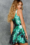 Galaxy Emerald Scoop Skater Dress
