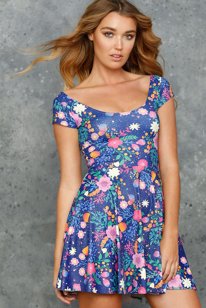 Unicorn's Garden Cap Sleeve Skater Dress