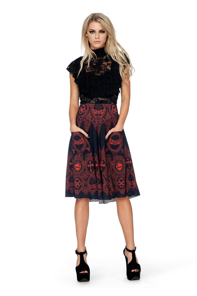 Invocation Yoke Midi Skirt