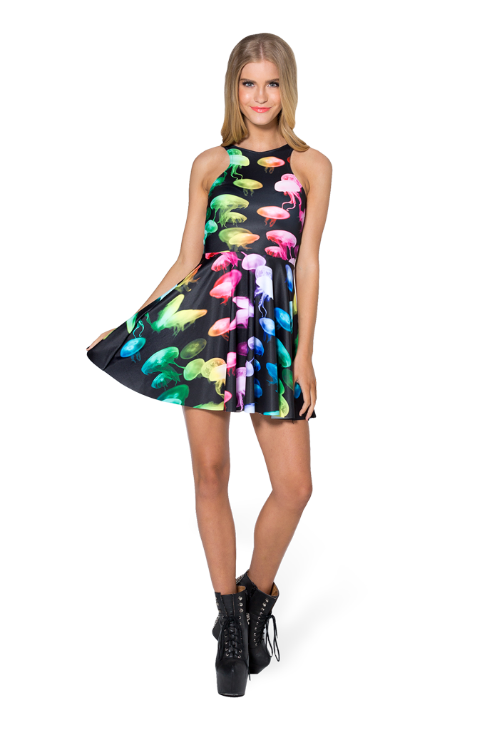 Jellyfish Rainbow Reversible Skater Dress