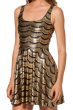 Lashes Gold Reversible Skater Dress