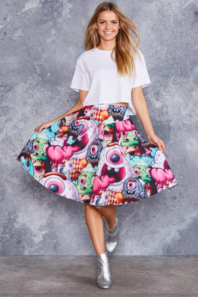 Monster Graffiti Yoke Midi Skirt - LIMITED