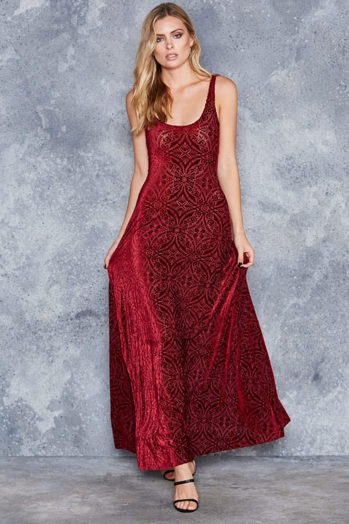 Burned Velvet Wine Maxi Dress