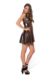 Mermaid Bronze Reversible Skater Dress