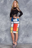 Mondrian Midi Pencil Skirt