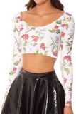 Gorgeous Garden White Long Sleeve Crop