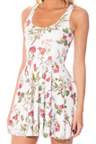 Gorgeous Garden White Reversible Skater Dress