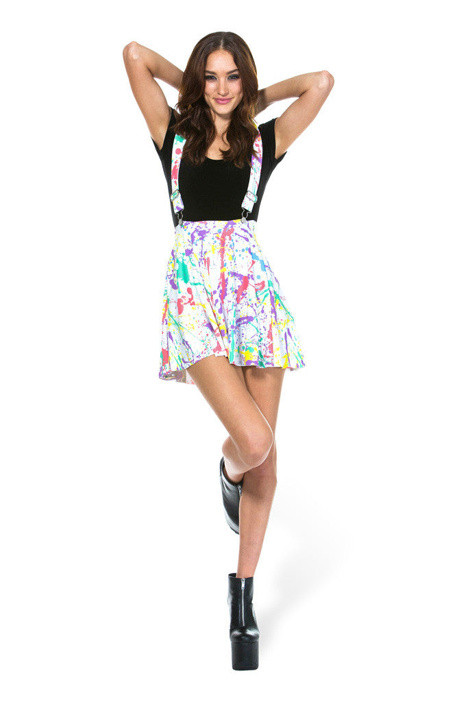 Splatter Pinafore Pocket Skater Skirt