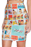Safety Card Pencil Skirt