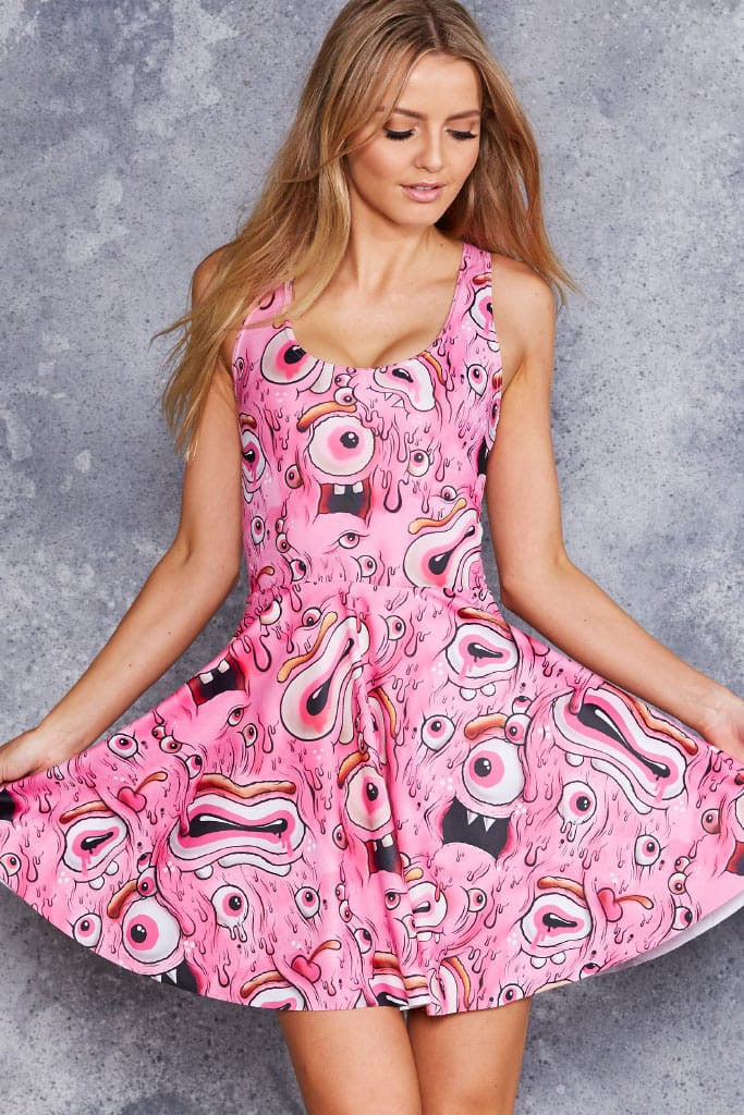 Pink Eyed Monster Reversible Skater Dress - LIMITED