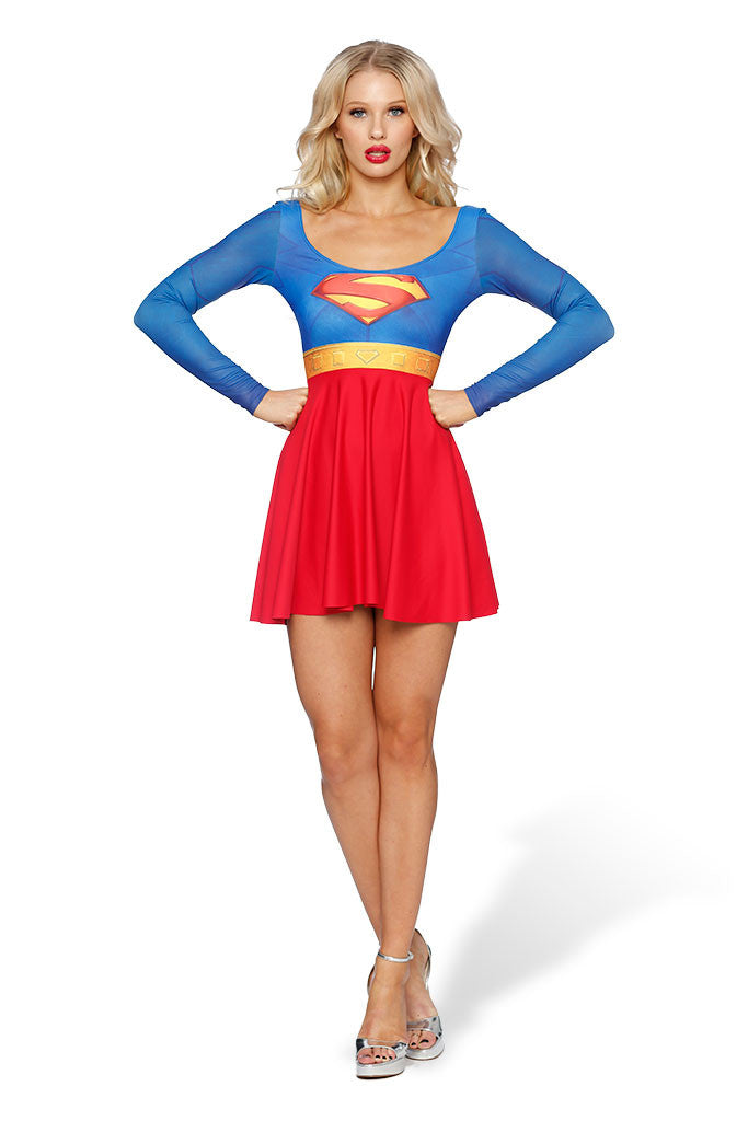 Superman Long Sleeve Skater Dress - LIMITED