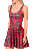 Tartan Red Scoop Skater Dress