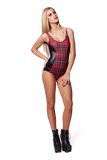 Tartan Vs Wet Look Bodysuit