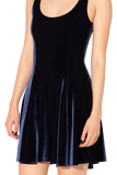 Velvet Deep Blue Evil Skater Dress
