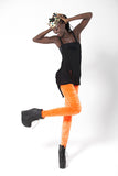 Crushed Velvet Fluro Orange Leggings