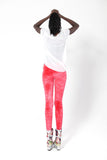 Crushed Velvet Fluro Red Leggings