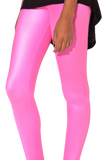 Wet Look High Waisted Pink Leggings