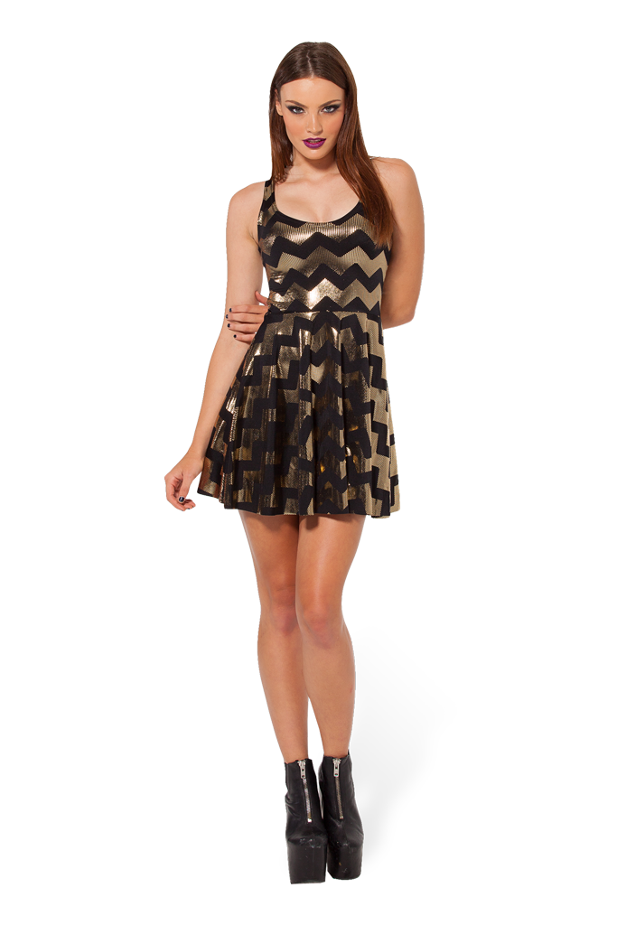 Zig Zag Gold Reversible Skater Dress