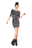 Zig Zag Silver 3/4 Sleeve Dress