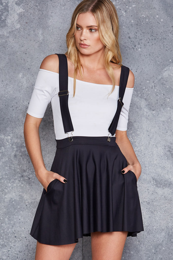 Matte Pinafore Pocket Skater Skirt