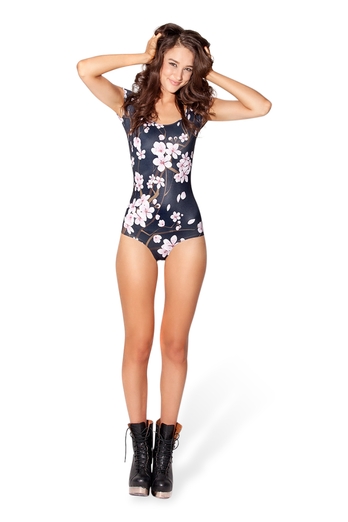Cherry Blossom Black Cap Sleeve Swim