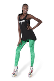 Crushed Velvet Fluro Green Leggings
