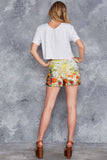 Redon Yellow Cuffed Shorts