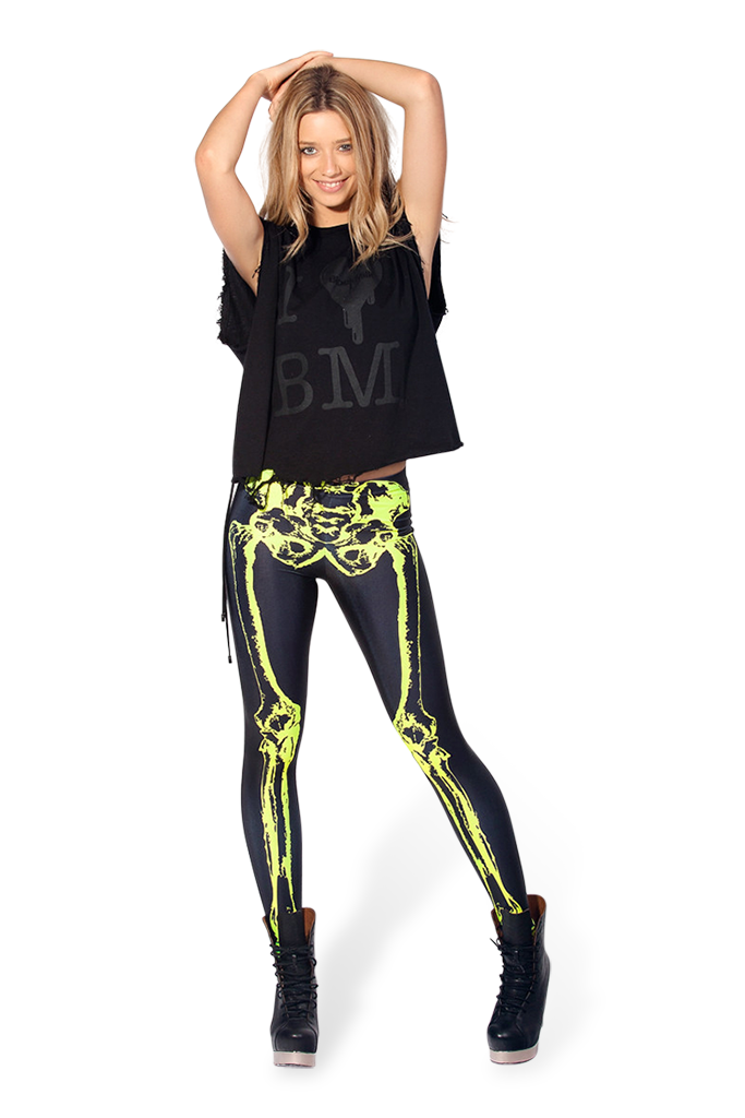 Leg Bones Neon Yellow Leggings